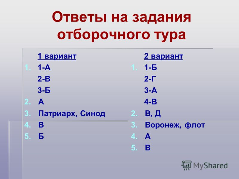 Ответы на задания отборочного тура 1 вариант 1. 1-А 2-В 3-Б 2. 2.А 3. 3.Патриарх, Синод 4. 4.В 5. 5.Б 2 вариант 1. 1-Б 2-Г 3-А 4-В 2. 2.В, Д 3. 3.Воронеж, флот 4. 4.А 5. 5.В