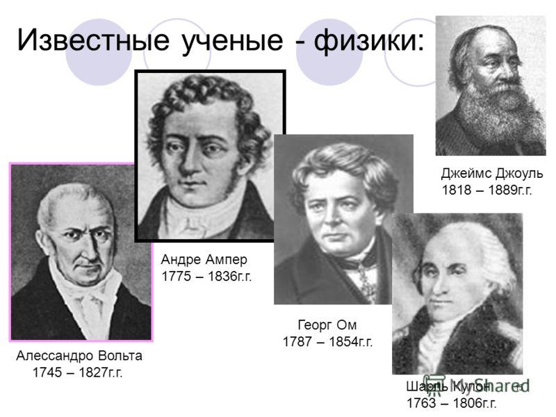15 Известные ученые - физики: Алессандро Вольта 1745 – 1827г.г. Андре Ампер 1775 – 1836г.г. Георг Ом 1787 – 1854г.г. Джеймс Джоуль 1818 – 1889г.г. Шарль Кулон 1763 – 1806г.г.