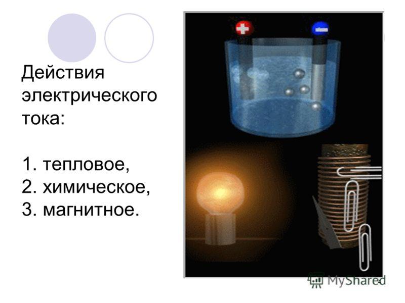 4 Действия электрического тока: 1. тепловое, 2. химическое, 3. магнитное.