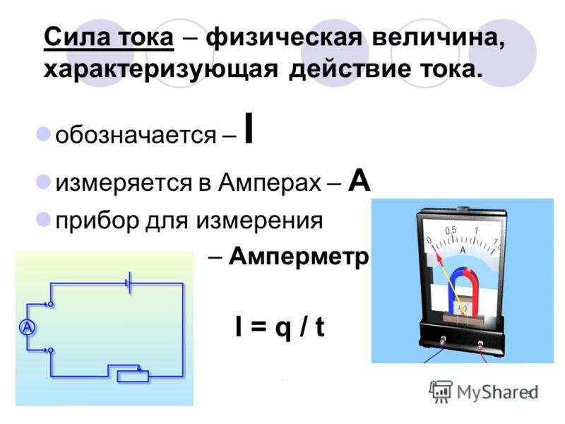 5 Сила тока – физическая величина, характеризующая действие тока. обозначается – I измеряется в Амперах – А прибор для измерения – Амперметр I = q / t