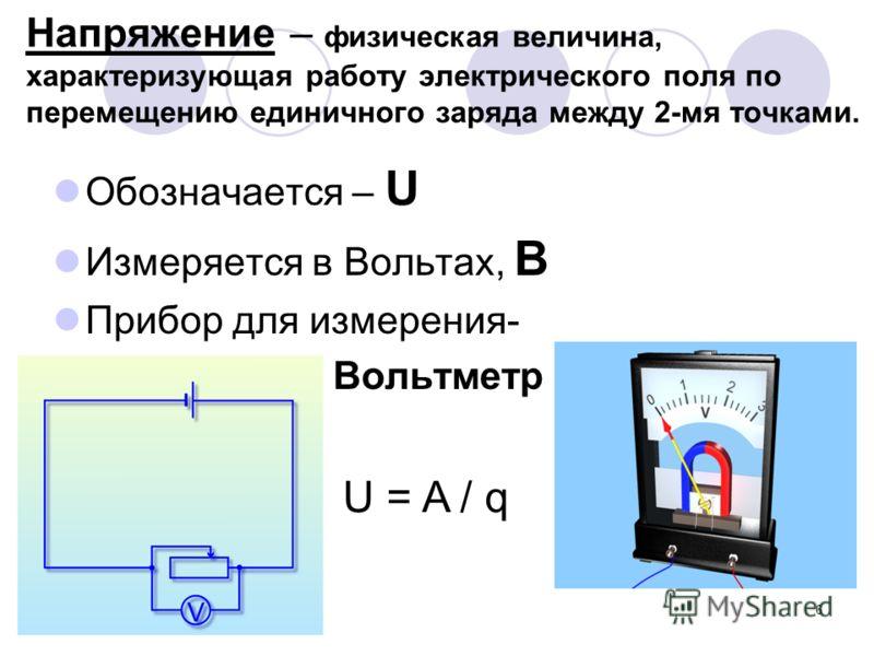 6 Напряжение – физическая величина, характеризующая работу электрического поля по перемещению единичного заряда между 2-мя точками. Обозначается – U Измеряется в Вольтах, В Прибор для измерения- Вольтметр U = A / q