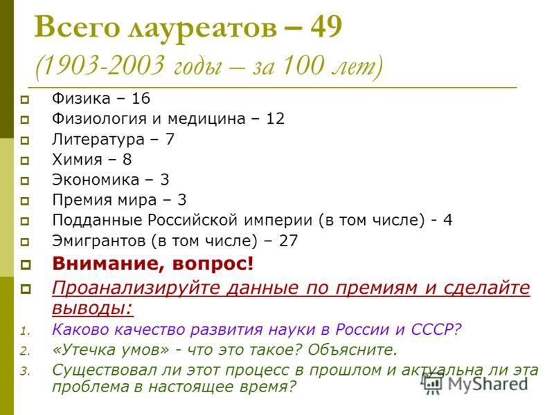 Лауреаты Нобелевской премии, чья судьба связана с Россией (или с СССР)