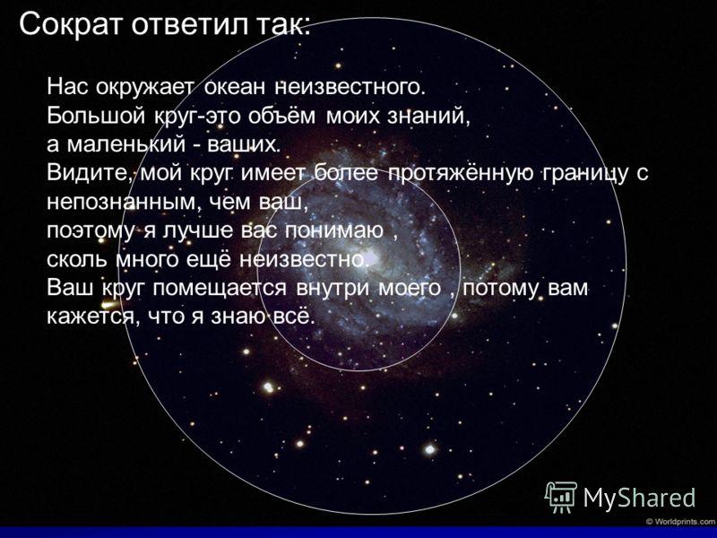 Сократ ответил так: Нас окружает океан неизвестного. Большой круг-это объём моих знаний, а маленький - ваших. Видите, мой круг имеет более протяжённую границу с непознанным, чем ваш, поэтому я лучше вас понимаю, сколь много ещё неизвестно. Ваш круг п
