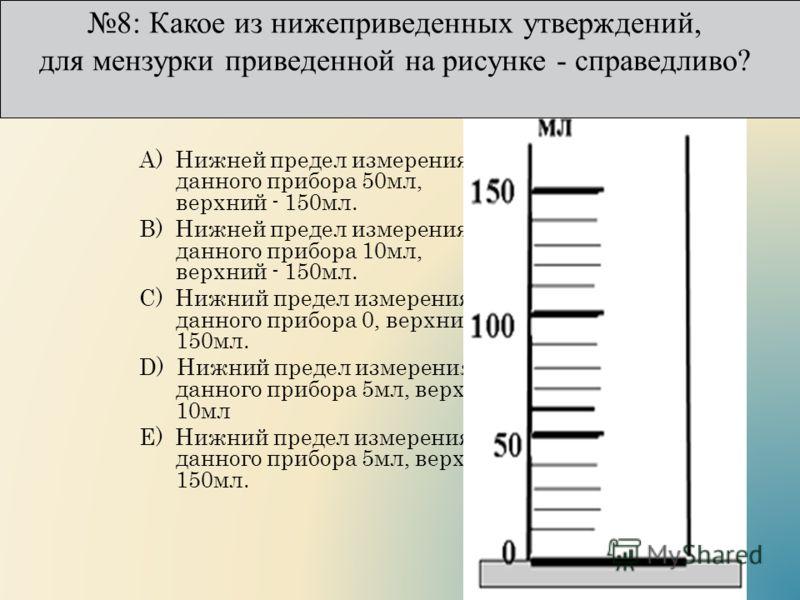 А) Нижней предел измерения данного прибора 50мл, верхний - 150мл. B) Нижней предел измерения данного прибора 10мл, верхний - 150мл. C) Нижний предел измерения данного прибора 0, верхний 150мл. D) Нижний предел измерения данного прибора 5мл, верхний 1