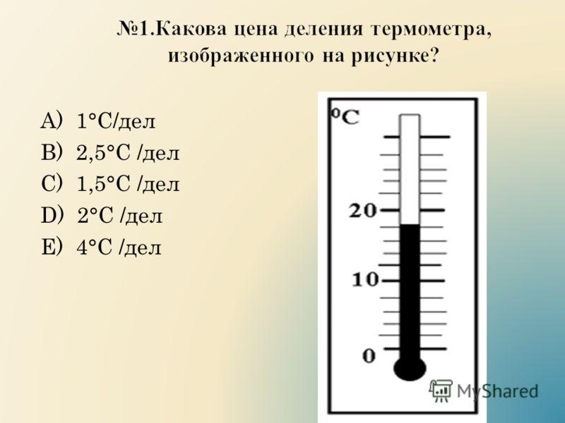 А) 1°С/дел B) 2,5°С /дел C) 1,5°С /дел D) 2°С /дел E) 4°С /дел