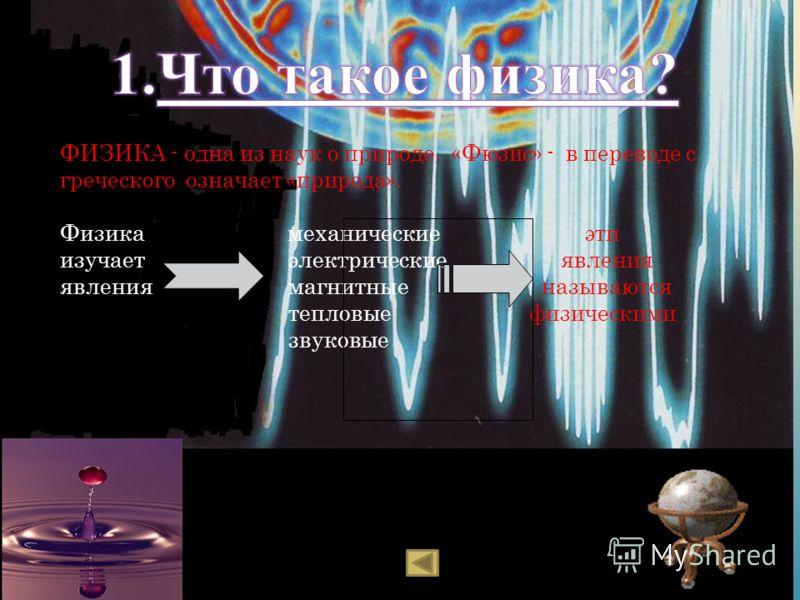 ФИЗИКА - одна из наук о природе. «Фюзис» - в переводе с греческого означает «природа». Физика механические эти изучает электрические явления явления магнитные называются тепловые физическими звуковые