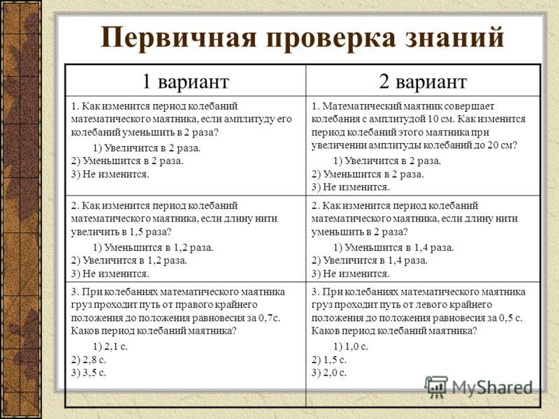 Первичная проверка знаний 1 вариант2 вариант 1. Как изменится период колебаний математического маятника, если амплитуду его колебаний уменьшить в 2 раза? 1) Увеличится в 2 раза. 2) Уменьшится в 2 раза. 3) Не изменится. 1. Математический маятник совер