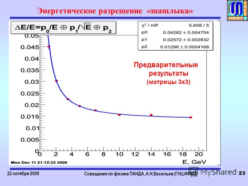 22 октября 2008 Совещание по физике ПАНДА, А.Н.Васильев (ГНЦ ИФВЭ) 23 Энергетическое разрешение «шашлыка» Предварительные результаты (матрицы 3х3)