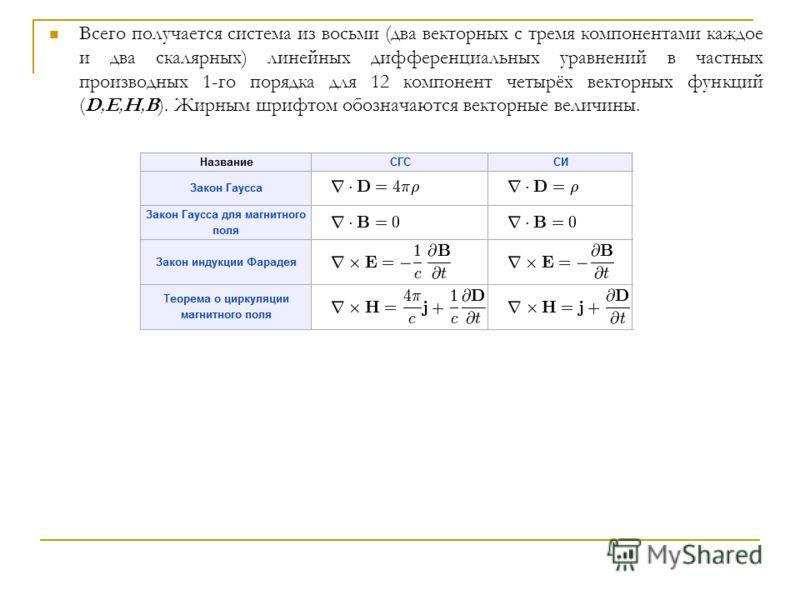 Всего получается система из восьми (два векторных с тремя компонентами каждое и два скалярных) линейных дифференциальных уравнений в частных производных 1-го порядка для 12 компонент четырёх векторных функций (D,E,H,B). Жирным шрифтом обозначаются ве