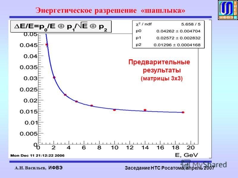 А.Н. Васильев, ИФВЭ Заседание НТС Росатома, апрель 2007 Энергетическое разрешение «шашлыка» Предварительные результаты (матрицы 3х3)