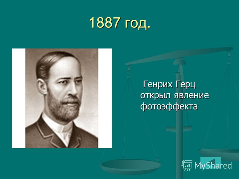 1887 год. Генрих Герц открыл явление фотоэффекта