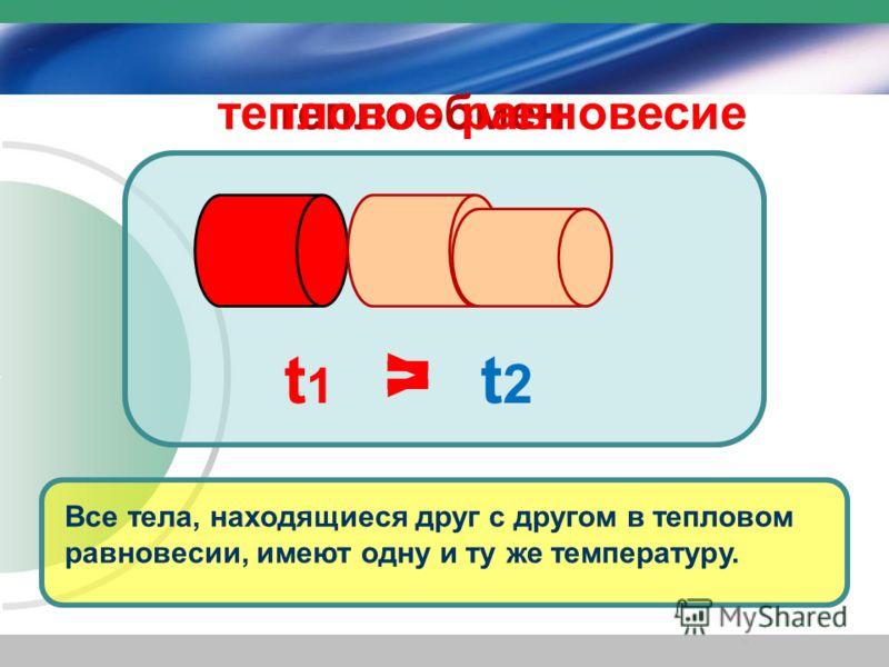 Все тела, находящиеся друг с другом в тепловом равновесии, имеют одну и ту же температуру. > t1t1 t2t2 = теплообментепловое равновесие