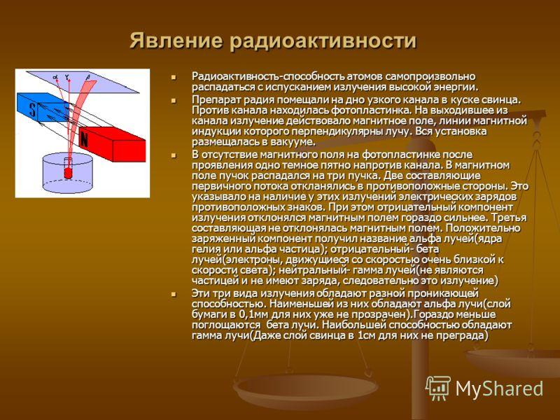 Явление радиоактивности Радиоактивность-способность атомов самопроизвольно распадаться с испусканием излучения высокой энергии. Радиоактивность-способность атомов самопроизвольно распадаться с испусканием излучения высокой энергии. Препарат радия пом