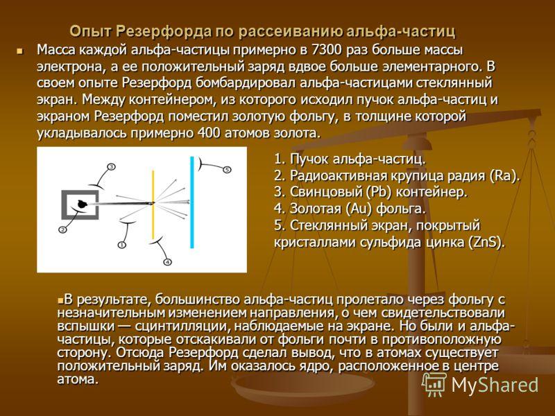Опыт Резерфорда по рассеиванию альфа-частиц Масса каждой альфа-частицы примерно в 7300 раз больше массы электрона, а ее положительный заряд вдвое больше элементарного. В своем опыте Резерфорд бомбардировал альфа-частицами стеклянный экран. Между конт