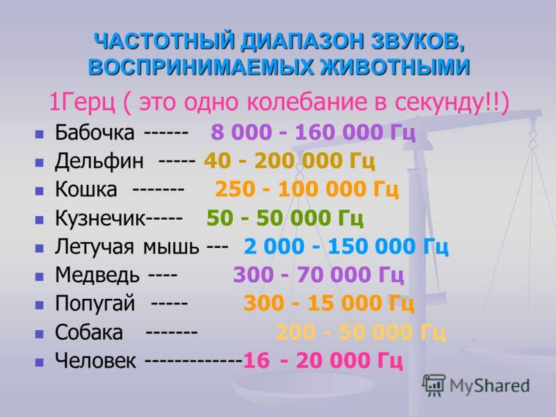 ЧАСТОТНЫЙ ДИАПАЗОН ЗВУКОВ, ВОСПРИНИМАЕМЫХ ЖИВОТНЫМИ 1Герц ( это одно колебание в секунду!!) Бабочка ------ 8 000 - 160 000 Гц Дельфин ----- 40 - 200 000 Гц Кошка ------- 250 - 100 000 Гц Кузнечик----- 50 - 50 000 Гц Летучая мышь --- 2 000 - 150 000 Г