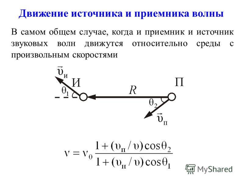 В самом общем случае, когда и приемник и источник звуковых волн движутся относительно среды с произвольным скоростями Движение источника и приемника волны