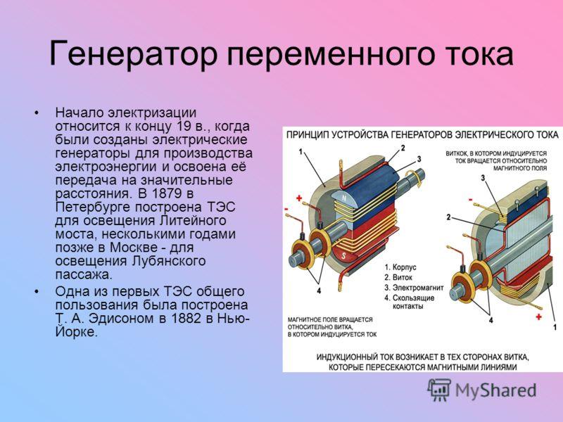Генератор переменного тока Начало электризации относится к концу 19 в., когда были созданы электрические генераторы для производства электроэнергии и освоена её передача на значительные расстояния. В 1879 в Петербурге построена ТЭС для освещения Лите