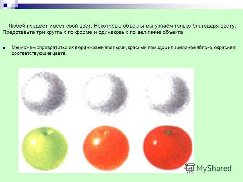 Любой предмет имеет свой цвет. Некоторые объекты мы узнаём только благодаря цвету. Представьте три круглых по форме и одинаковых по величине объекта Мы можем «превратить» их в оранжевый апельсин, красный помидор или зеленое яблоко, окрасив в соответс