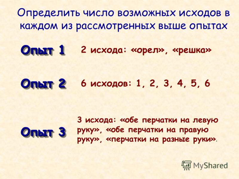 Определить число возможных исходов в каждом из рассмотренных выше опытах Опыт 1 2 исхода: «орел», «решка» Опыт 2 Опыт 3 6 исходов: 1, 2, 3, 4, 5, 6 3 исхода: «обе перчатки на левую руку», «обе перчатки на правую руку», «перчатки на разные руки».