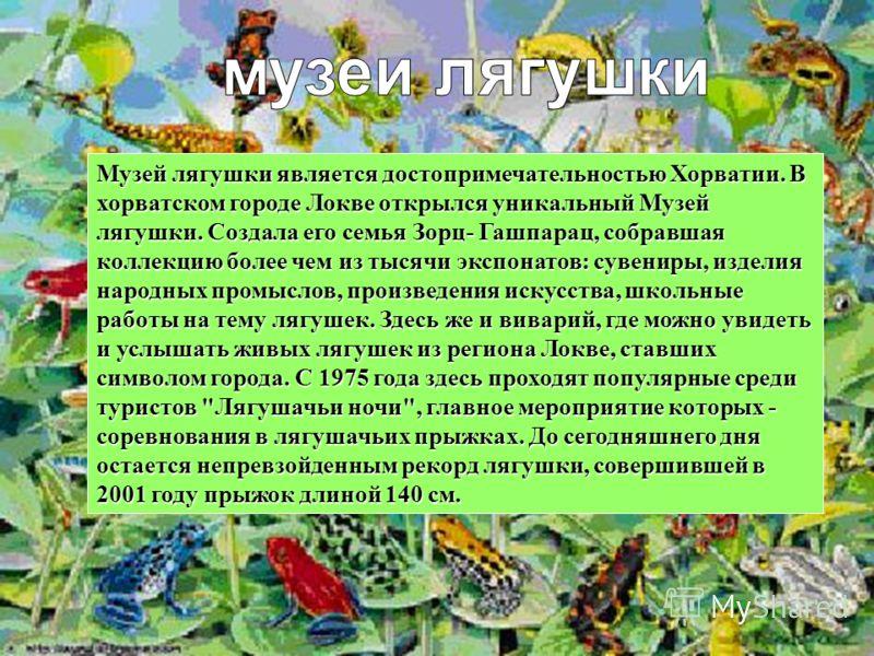 Музей лягушки является достопримечательностью Хорватии. В хорватском городе Локве открылся уникальный Музей лягушки. Создала его семья Зорц- Гашпарац, собравшая коллекцию более чем из тысячи экспонатов: сувениры, изделия народных промыслов, произведе