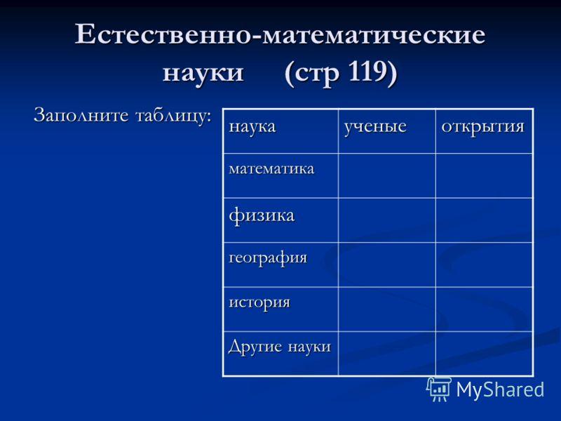 Естественно-математические науки (стр 119) Заполните таблицу: наукаученыеоткрытия математика физика география история Другие науки