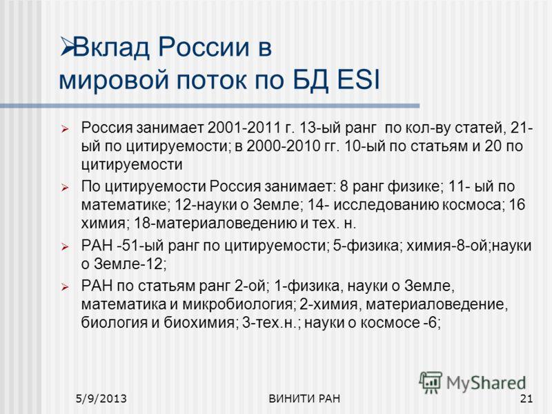 Вклад России в мировой поток по БД ESI Россия занимает 2001-2011 г. 13-ый ранг по кол-ву статей, 21- ый по цитируемости; в 2000-2010 гг. 10-ый по статьям и 20 по цитируемости По цитируемости Россия занимает: 8 ранг физике; 11- ый по математике; 12-на