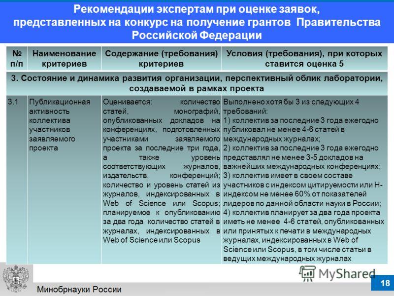 18 Рекомендации экспертам при оценке заявок, представленных на конкурс на получение грантов Правительства Российской Федерации п/п Наименование критериев Содержание (требования) критериев Условия (требования), при которых ставится оценка 5 3. Состоян