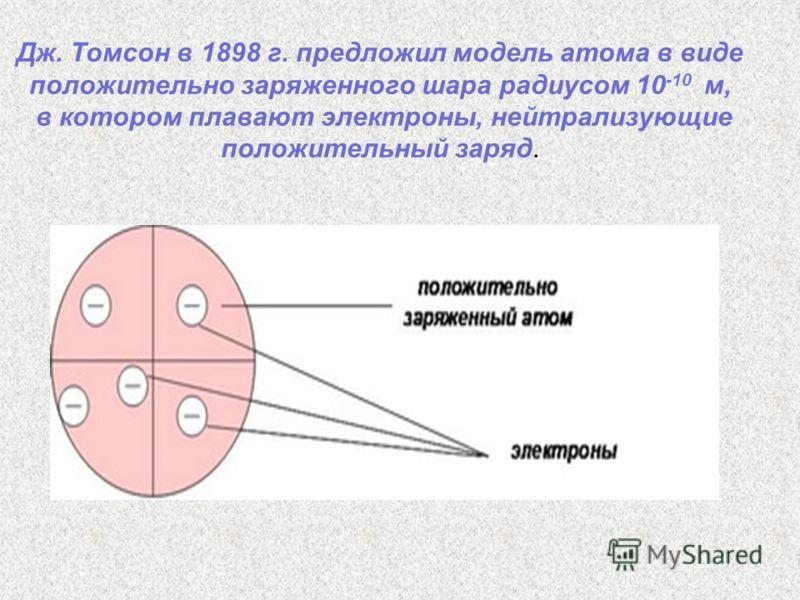 Дж. Томсон в 1898 г. предложил модель атома в виде положительно заряженного шара радиусом 10 -10 м, в котором плавают электроны, нейтрализующие положительный заряд.