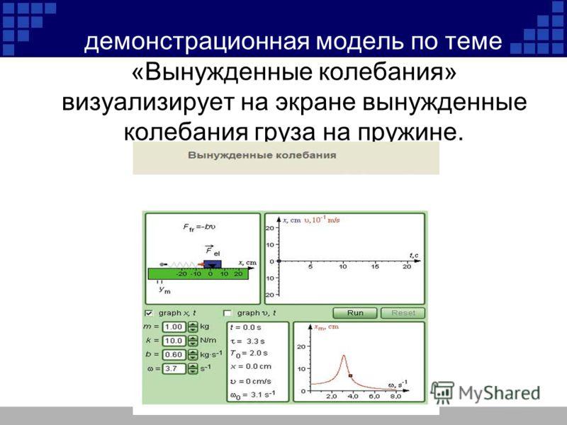 демонстрационная модель по теме «Вынужденные колебания» визуализирует на экране вынужденные колебания груза на пружине.