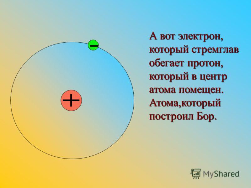 А вот электрон, который стремглав обегает протон, который в центр атома помещен. Атома,который построил Бор.