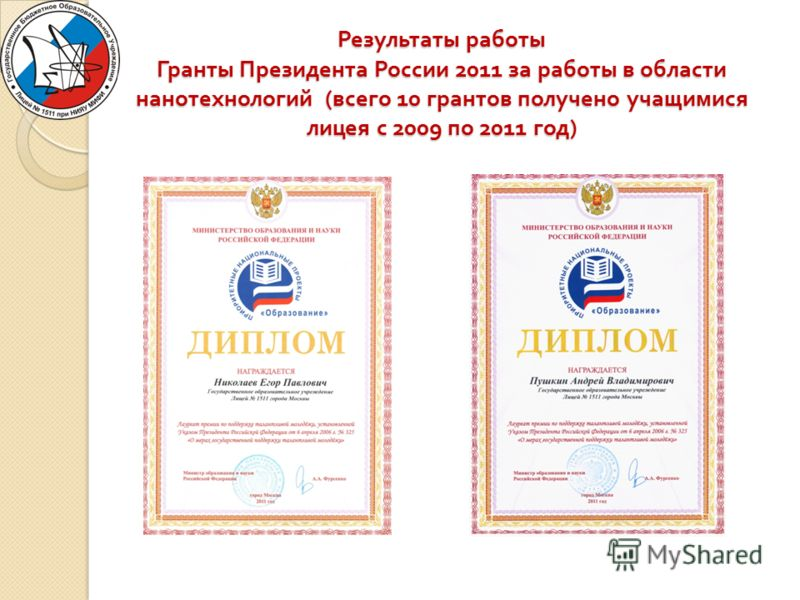 Результаты работы Гранты Президента России 2011 за работы в области нанотехнологий ( всего 10 грантов получено учащимися лицея с 2009 по 2011 год )