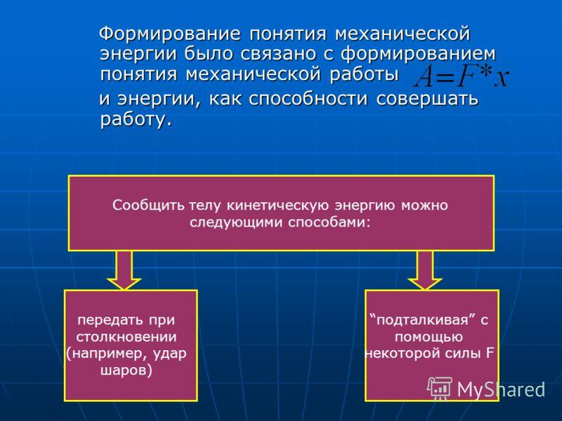 Формирование понятия механической энергии было связано с формированием понятия механической работы Формирование понятия механической энергии было связано с формированием понятия механической работы и энергии, как способности совершать работу. и энерг