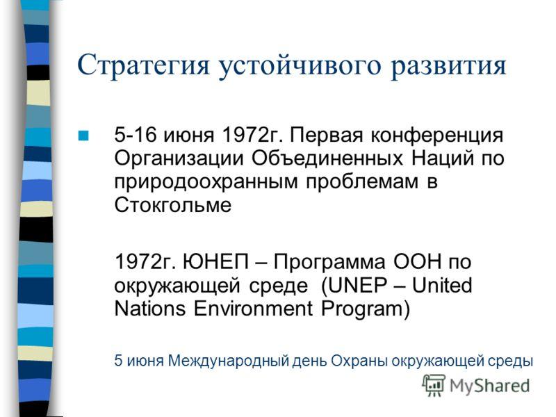 Стратегия устойчивого развития 5-16 июня 1972г. Первая конференция Организации Объединенных Наций по природоохранным проблемам в Стокгольме 1972г. ЮНЕП – Программа ООН по окружающей среде (UNEP – United Nations Environment Program) 5 июня Международн