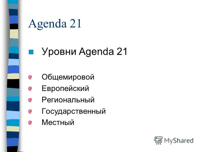 Agenda 21 Уровни Agenda 21 Общемировой Европейский Региональный Государственный Местный