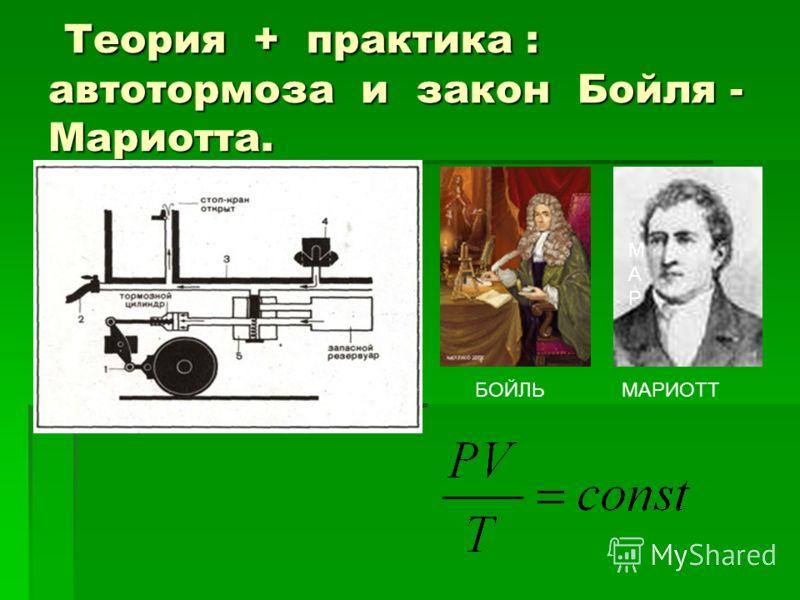 Теория + практика : автотормоза и закон Бойля - Мариотта. Теория + практика : автотормоза и закон Бойля - Мариотта. БОЙЛЬ МАРМАР МАРИОТТ