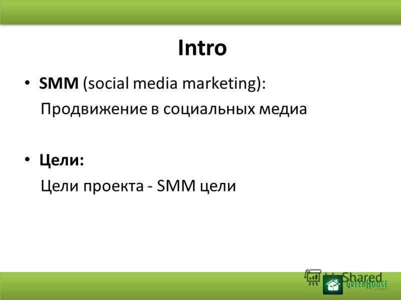 Intro SMM (social media marketing): Продвижение в социальных медиа Цели: Цели проекта - SMM цели