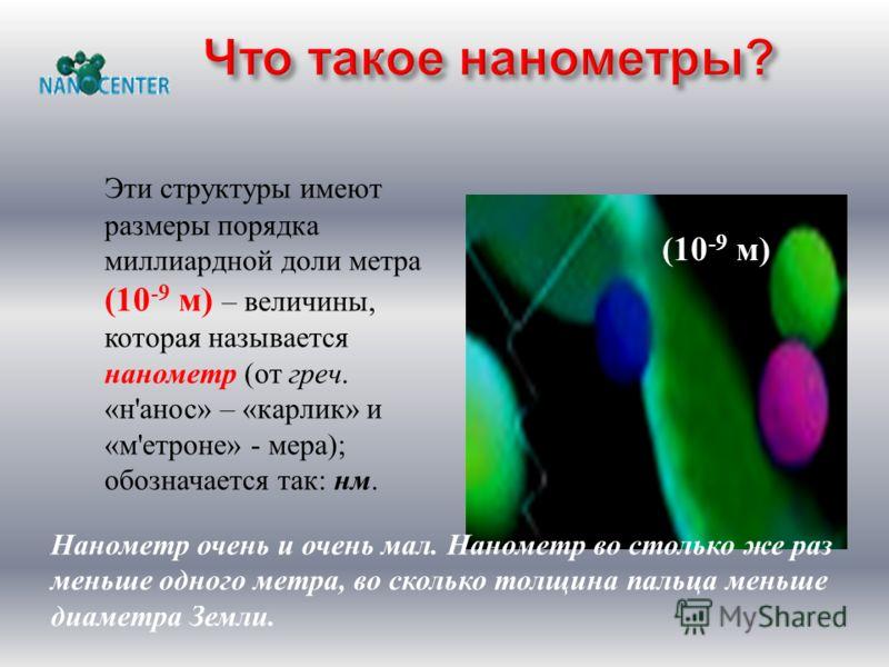 Эти структуры имеют размеры порядка миллиардной доли метра (10 -9 м ) – величины, которая называется нанометр ( от греч. « н ' анос » – « карлик » и « м ' етроне » - мера ); обозначается так : нм. (10 -9 м) Нанометр очень и очень мал. Нанометр во сто