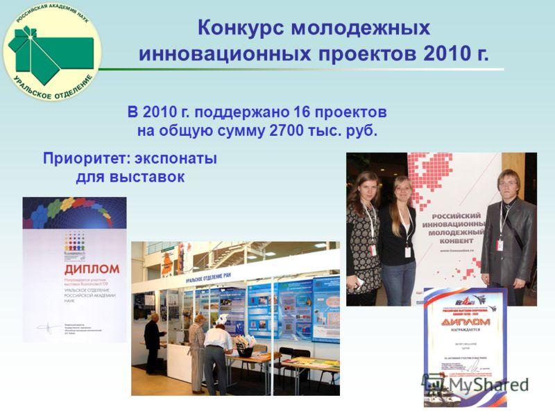 Конкурс молодежных инновационных проектов 2010 г. В 2010 г. поддержано 16 проектов на общую сумму 2700 тыс. руб. Приоритет: экспонаты для выставок