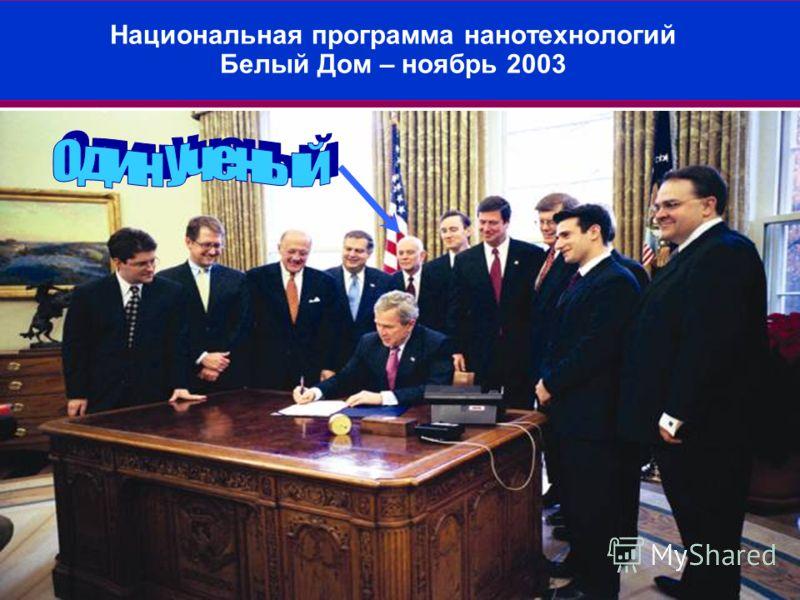 45 Национальная программа нанотехнологий Белый Дом – ноябрь 2003