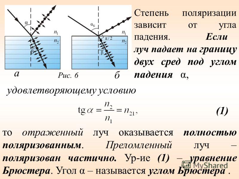 Степень поляризации зависит от угла падения. Если луч падает на границу двух сред под углом падения α, то отраженный луч оказывается полностью поляризованным. Преломленный луч – поляризован частично. Ур-ие (1) – уравнение Брюстера. Угол α – называетс