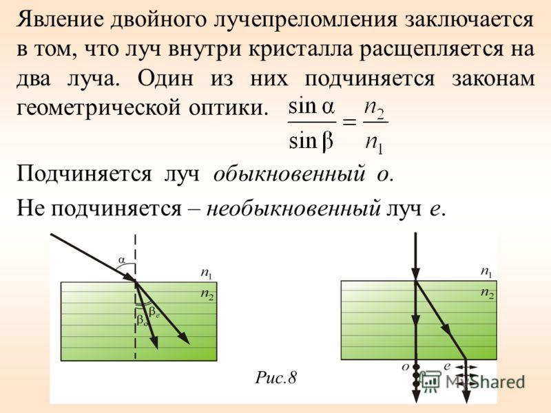 Подчиняется луч обыкновенный о. Не подчиняется – необыкновенный луч е. Рис.8 Явление двойного лучепреломления заключается в том, что луч внутри кристалла расщепляется на два луча. Один из них подчиняется законам геометрической оптики.