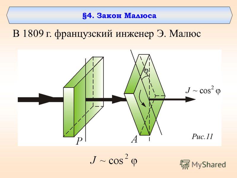 §4. Закон Малюса В 1809 г. французский инженер Э. Малюс Рис.11