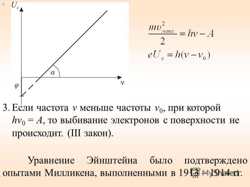 х 3.Если частота ν меньше частоты ν 0, при которой hν 0 = A, то выбивание электронов с поверхности не происходит. (III закон). Уравнение Эйнштейна было подтверждено опытами Милликена, выполненными в 1913 – 1914 гг.