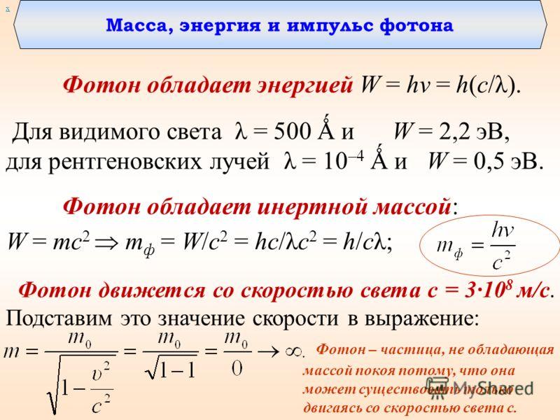 Масса, энергия и импульс фотона Фотон обладает энергией W = hν = h(c/λ). Для видимого света λ = 500 Ǻ и W = 2,2 эВ, для рентгеновских лучей λ = 10 –4 Ǻ и W = 0,5 эВ. х W = mc 2 m ф = W/c 2 = hc/λc 2 = h/cλ; Фотон движется со скоростью света c = 3·10