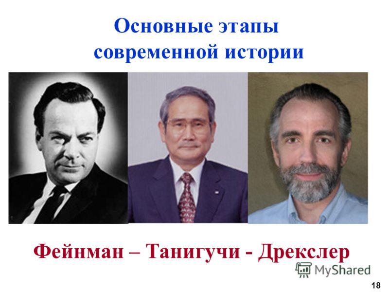 18 Основные этапы современной истории Фейнман – Танигучи - Дрекслер