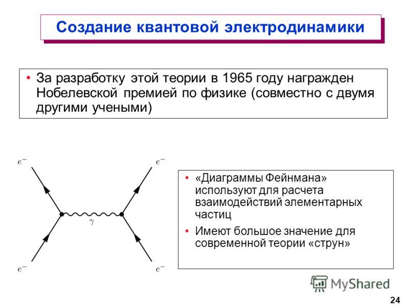 24 Создание квантовой электродинамики За разработку этой теории в 1965 году награжден Нобелевской премией по физике (совместно с двумя другими учеными) «Диаграммы Фейнмана» используют для расчета взаимодействий элементарных частиц Имеют большое значе
