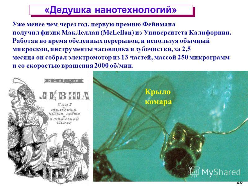28 «Дедушка нанотехнологий» Уже менее чем через год, первую премию Фейнмана получил физик МакЛеллан (McLellan) из Университета Калифорнии. Работая во время обеденных перерывов, и используя обычный микроскоп, инструменты часовщика и зубочистки, за 2,5