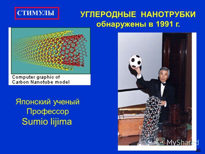 40 УГЛЕРОДНЫЕ НАНОТРУБКИ обнаружены в 1991 г. Японский ученый Профессор Sumio Iijima СТИМУЛЫ