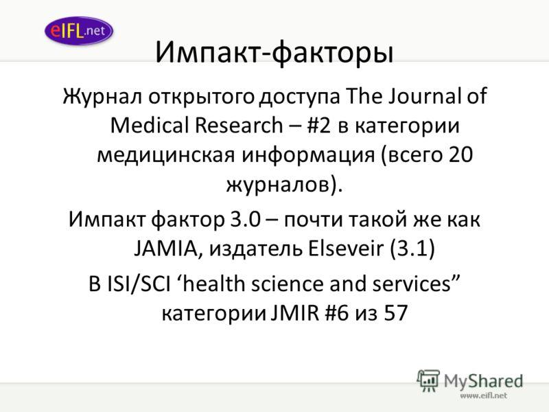 Импакт-факторы Журнал открытого доступа The Journal of Medical Research – #2 в категории медицинская информация (всего 20 журналов). Импакт фактор 3.0 – почти такой же как JAMIA, издатель Elseveir (3.1) В ISI/SCI health science and services категории