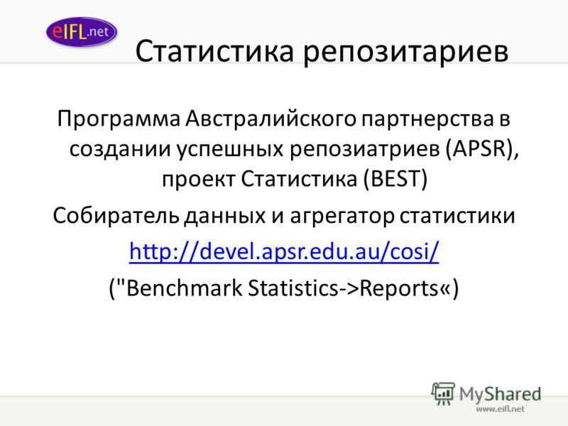 Статистика репозитариев Программа Австралийского партнерства в создании успешных репозиатриев (APSR), проект Статистика (BEST) Собиратель данных и агрегатор статистики http://devel.apsr.edu.au/cosi/ (Benchmark Statistics->Reports«)